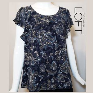 NWOT Paisley patterned blouse dark blue size XL